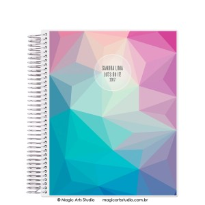 Magic Planner tamanho Large com espiral prata - Abstract winter
