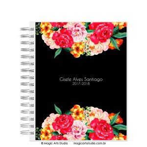Magic Planner tamanho Large com wire-o prata - Flowers Black - modelo 1