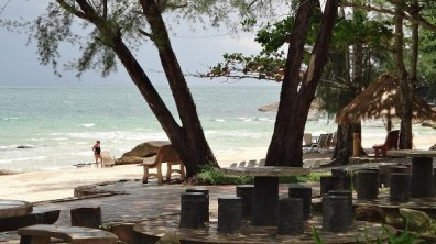 Independence Beach, Sihanoukville - Trees, Tables and Chairs