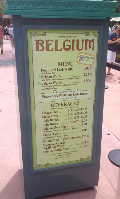 Belgium menu at the Epcot International Food and Wine Festival