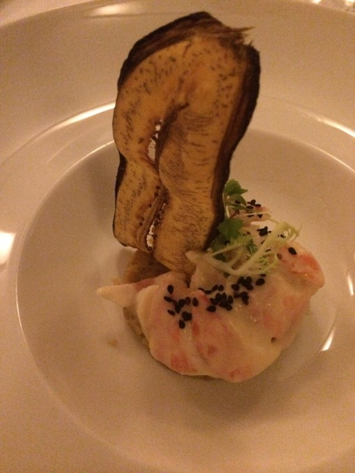 Lobster tail served on sweet plantains at Ramona at Nizuc Resort and Spa in Cancun, Mexico