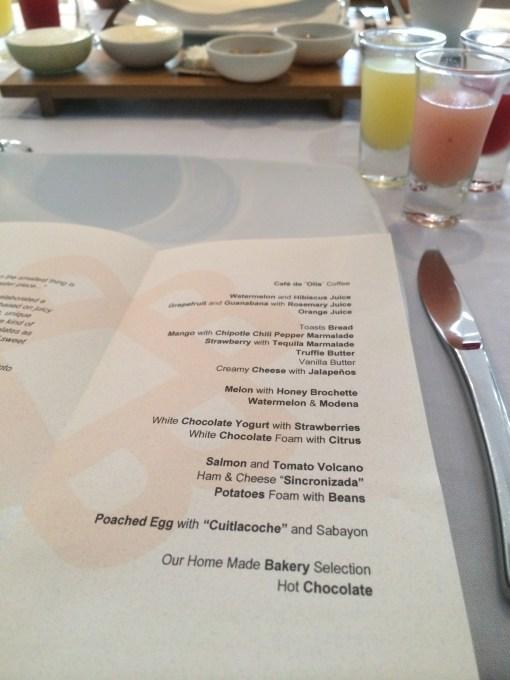 Benazuza Breakfast Menu- Benazuza Restaurante at the Oasis Sens in Cancun, Mexico