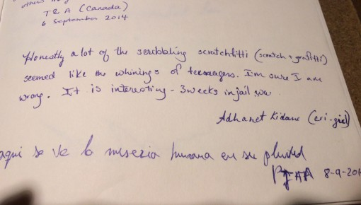 Guest book at the National Socialism Documentation Center in Cologne, Germany..