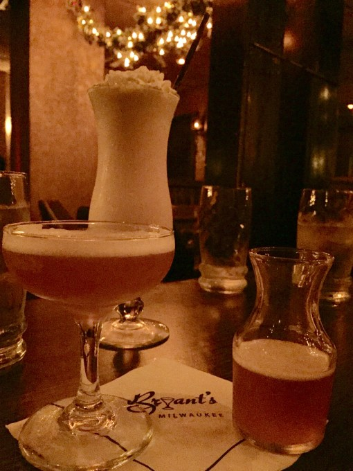 A collection of old timey cocktails at Milwaukee's oldest cocktail lounge, Bryant's