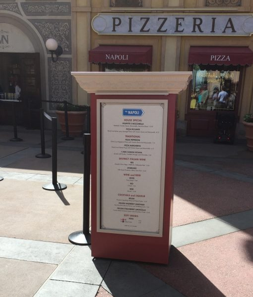 The Via Napoli Pizza window at the Italy pavilian in Epcot!