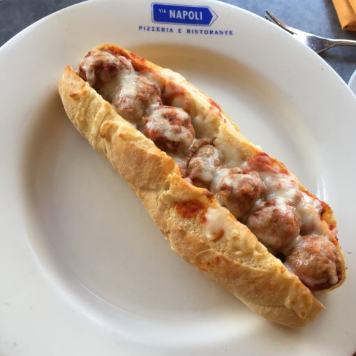 New meatball sub at the Via Napoli Pizza window at the Italy pavilian in Epcot!