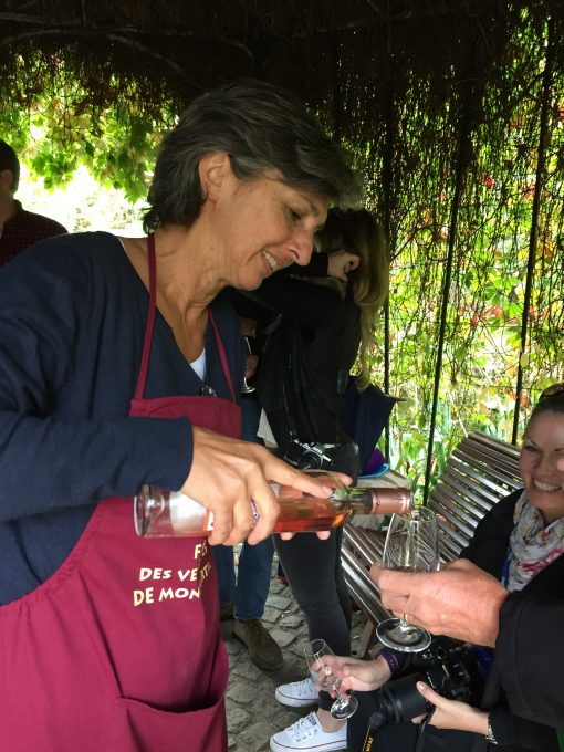 Sampling Rose at the Clos Montmartre vineyard in Paris