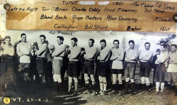 Ted Maher in a Tumut team on 28 Aug. 1921.  Probably vs Mascot from Sydney Source: Tumut RSL Club collection