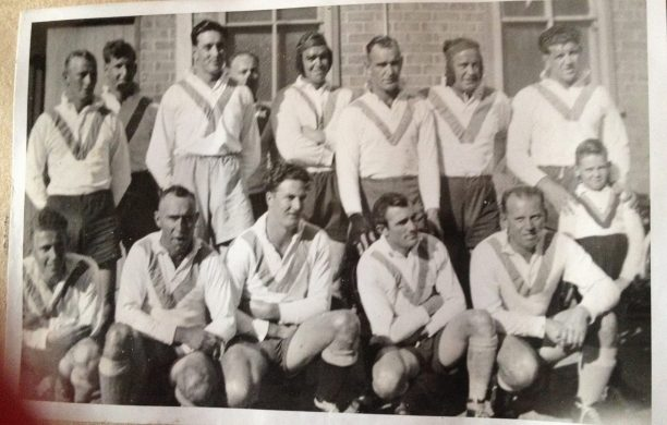 Cootamundra 1947: Doug Wall, Neil McDonnell, Kevin Chuck, Harold Thackeray, Stan McAlister, P. Glanville, Jack 'Onion' Bell, Herb Narvo (Capt/Coach) , mascot Front row: Russell Cohen, Alf Broughton, Bob Hobbs, Jim Crowe & Geoff Rogers. Posted by Cheryl Ramsden on Cootamundra Remembers.