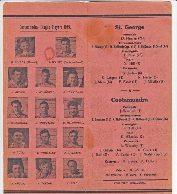 Cootamundra hosted St George at Fisher Park on Wednesday 14 September 1949 and won 13-10.