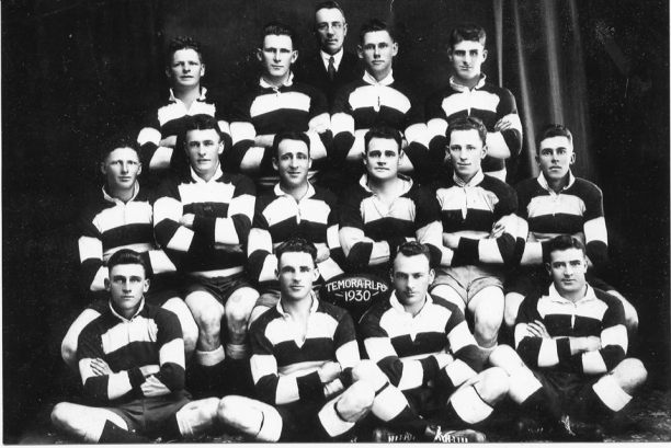 Temora, captained by Eric Weissel in 1930: Back – Eric Curran, Charlie Bray, Norm Bland, George King, Reg Maker Middle – Leo Curran, Horace Anthony, Eric Weissel, Norm Dundas, Alan'Snowy' Lynch, Bob Boyd Front – Joe Constable, Harold Thomas, Harry Owen, Jack Stephenson. Source: Temora Dragons Rugby League Club via Facebook.