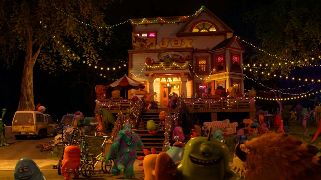 "Pizza Planet – The Pizza Planet truck is in the driveway of the JOX fraternity house when Mike is riding Archie the Scare Pig down Greek Row. The Pizza Planet truck, which first made an appearance in ""Toy Story,"" has made a cameo in nearly every Pixar feature film."