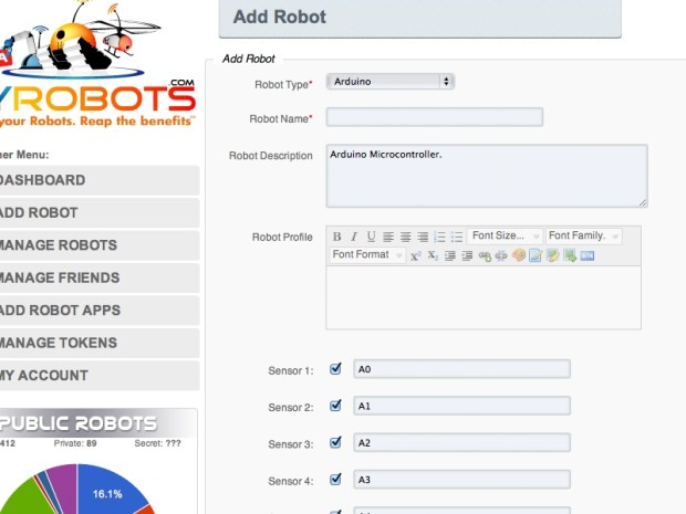 Connecting Your Robot to MyRobots / ThingSpeak