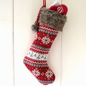 Red Scandi christmas stocking - not on the high street