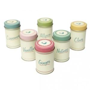 Set of 6 Pantry Design Spice Tins - Dotcomgiftshop