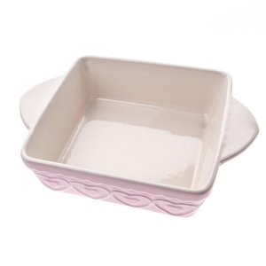 mollie and fred gisela graham pink hearts ceramic square oven dish