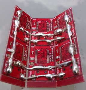 Panel of SMD PCBs artistically soldered together