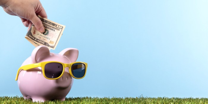 Female hand putting a ten dollar bill into a pink piggy bank, with sunglasses, grass and blue sky (studio shot with plain blue background).  Space for copy on right.