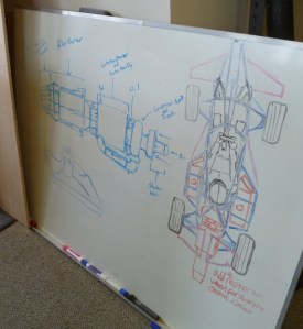 The plan is to build a vehicle and mount the jet engine on it. These are some sketches for the first prototype.