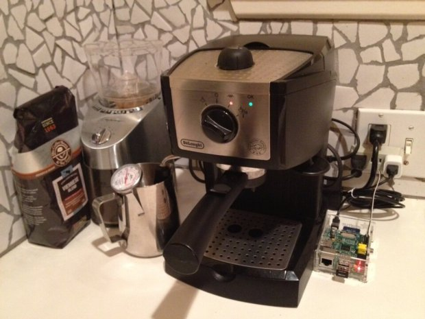 With Raspberry Pi, you can give every-day objects their own API to help you build your own internet of things. Above, Mark Moran used the Pi to web-enable his previously-unconnected espresso machine.