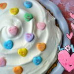 Conversation Hearts pie — this is not just a sweet decoration. The hearts are actually partially melted in the filling.