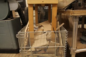 While we allow individuals to store their materials within the shop, we are careful to make sure they are stored in the correct place since incorrect storage can be dangerous. We also have scrap materials available to make sure that leftover bits and pieces are available to others who may have use for them.