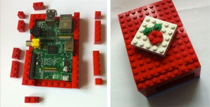 Build a LEGO enclosure, complete with a faux raspberry on top!