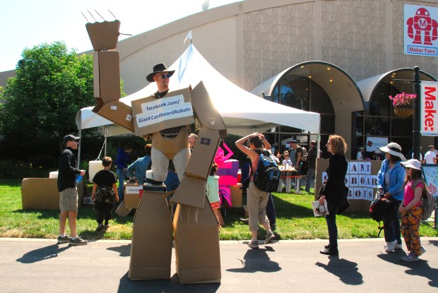 One of the friendly Giant Cardboard Robots. (Juliann Brown/MAKE)