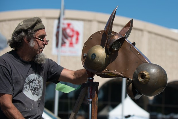 Vallejo, Calif's Obtanium Works readies their foot-powered hobby horse.