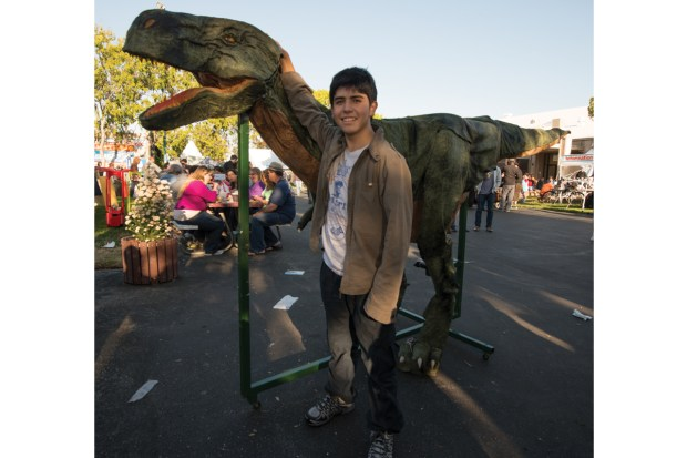 Young maker Gabriel Diaz Yanten came all the way from Santiago, Chile with his T-Rex Anancleto.