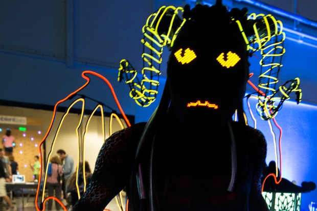 Spark the Demon, created and worn by Phil Burgess, also a senior designer with our friends at Adafruit.