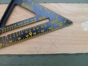 When marking a piece of wood for a cut, make a V shape  that terminates at the point of the cut, and mark an X on the side that needs to be cut off.