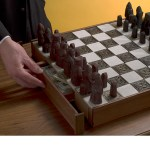 Unlock a secret compartment with magnetic chess pieces with this gorgeous homemade chess board. Link: Secret Chessboard Compartment.