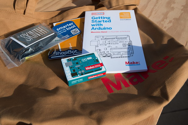 The schwag bag at HIW included a MAKE edition Arduino Uno and other goodies.