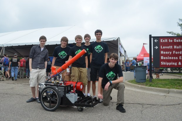 FIRST team #503 from Novi, Michigan boast a robot that can pitch a baseball 108MPH and even had the honor of the first pitch at a recent Detroit Tigers baseball game.