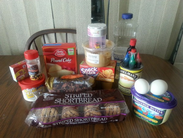 Here are all of the ingredients needed to represent the layers of the Earth.