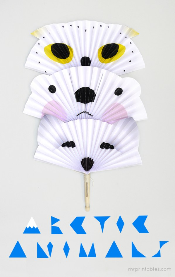 arctic-animal-paper-fans-diy