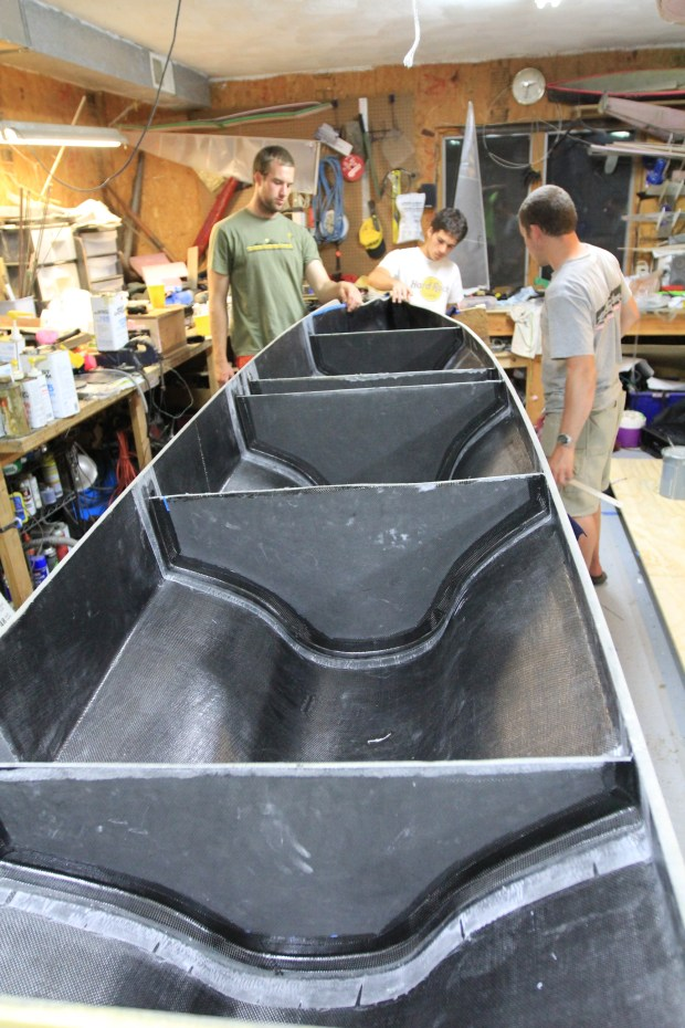 Bulkheads reinforce the hull.