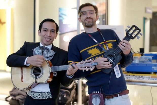 Playing a 3D printed uke with the mariachi band.