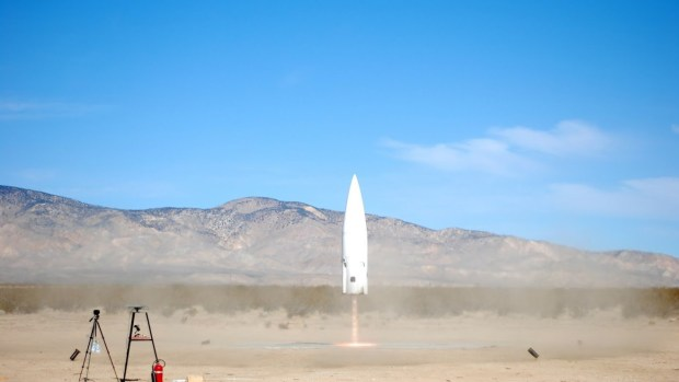 The Xaero reusable launch vehicle takes off during a free flight test at Masten's facilities in Mojave, Calif.