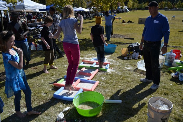 The Decatur Makers brought out Non-Newtonian Hopscotch, which was a messy, but fun, activity for kids.