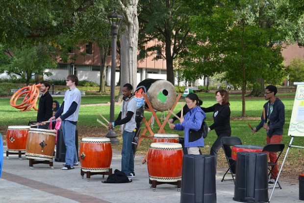 The Atlanta Taiko Project invited attendees to join them in drumming.