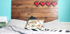 Geek Inspiration: 8-Bit Hearts Headboard