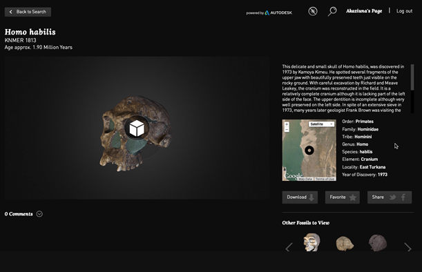 Using Sketchfab, the 3D fossil can be interactively manipulated in browser, allowing the participant to 'digitally touch' the fossils.