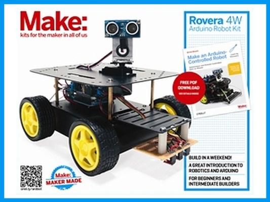 Not only do you get a great 4WD robot platform complete with Arduino Leonardo microcontroller, sensors, and necessary electronics, but you also get both printed and PDF forms of the Make an Arduino Controlled Robot book, by Michael Margolis. Nice. A slightly less expensive 2WD kit is also available.