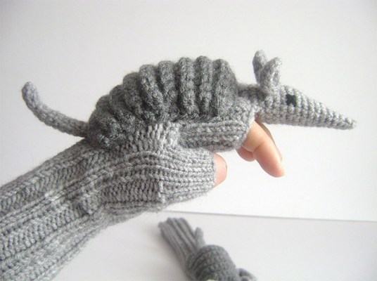Nature gave the armadillo a protective shell to guard its soft little body from predators and now you can give your soft little digits protection from chilly weather by curling them up in these armadillo gloves from Etsy seller muratyusuf.