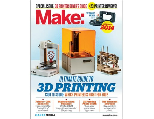 "Which 3D printer is right for you? The 2014 Ultimate Guide to 3D Printing features brand new reviews of 23 3D printers currently on the market, as well as 3D scanners and filament extruders, in a 47 page ""3D printer buying guide"".  This special issue of MAKE also highlights cool, useful, and specialized 3D printed applications and amazing folks that are using 3D printing in interesting ways."