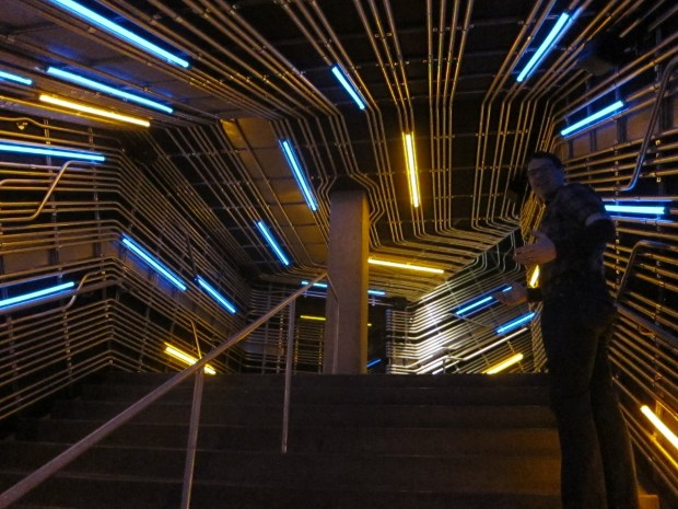 Awesome EMP stairway turned Battlestar Gallactica with simple runs of EMT conduit and some neon.