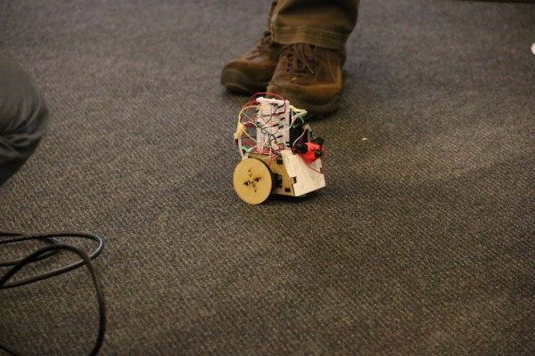 One of several cat projects, the Cat Confuser is SumoBot Jr. kit with sensors designed to avoid obstacles...and cats.