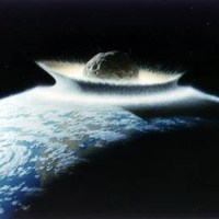 Artist concept of asteroid impacting earth. Image credit: Don Davis/NASA